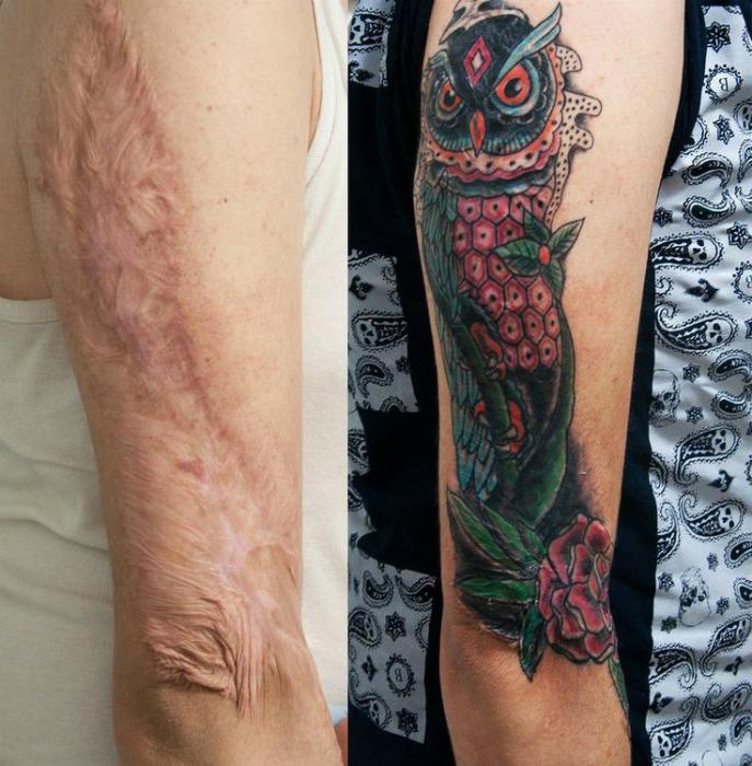 Красочная татуировка с изображением совы.
