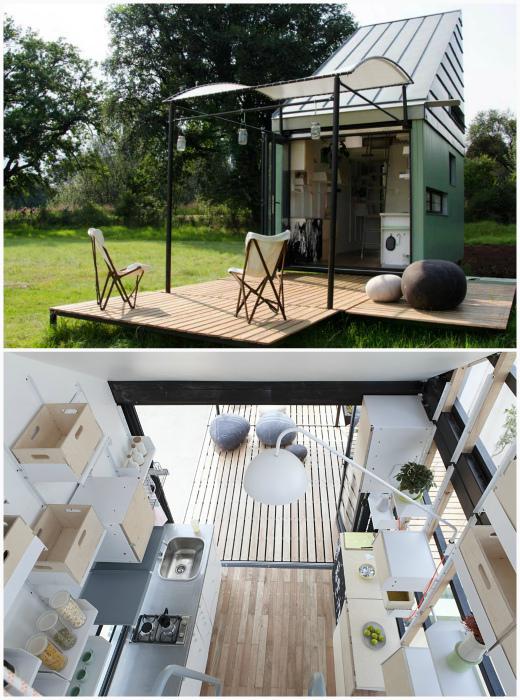 Маленький панельный домик с террасой.