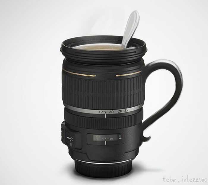 Чашка, которая выглядит точь в точь, как объектив зеркальной фотокамеры.