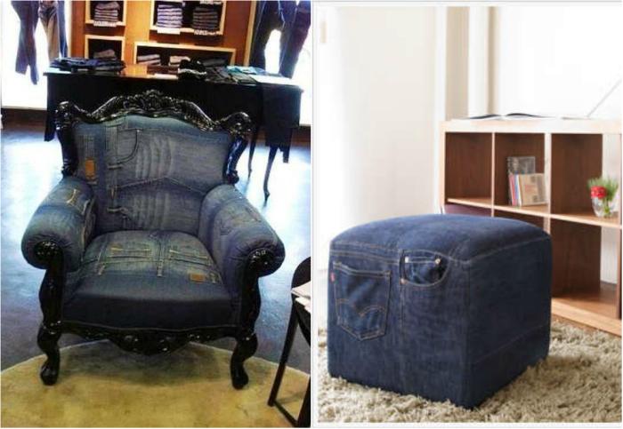 Оригинальное кресло и пуфик, перетянутые старыми джинсами.