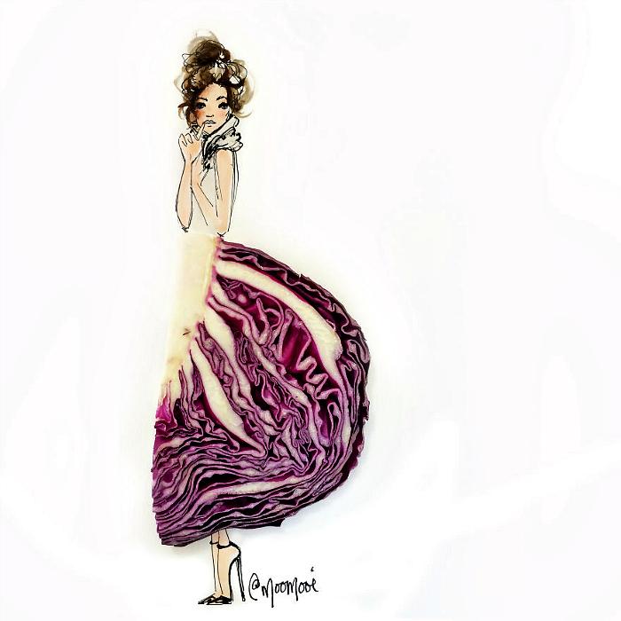 Платье из краснокочанной капусты.