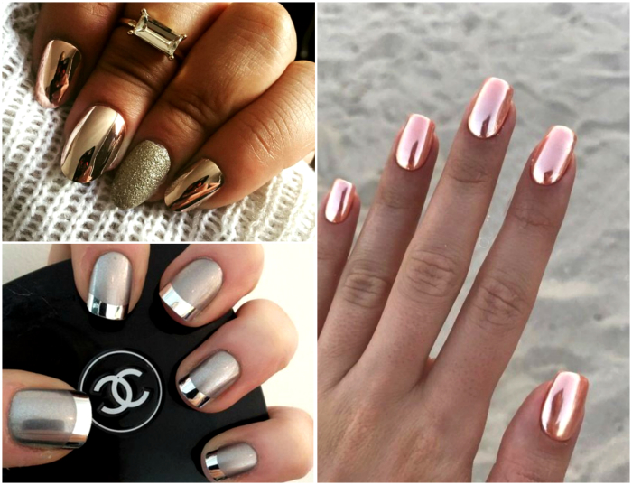 Эффект хрома на ногтях.