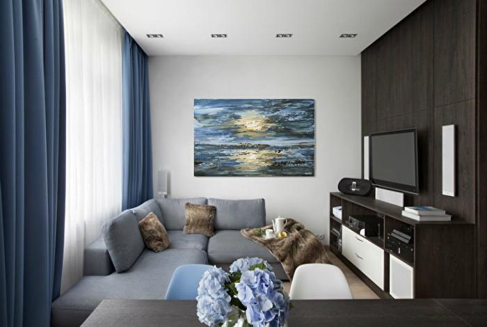 Спокойная гостиная с элементами морского стиля. | Фото: Trizio.ru.