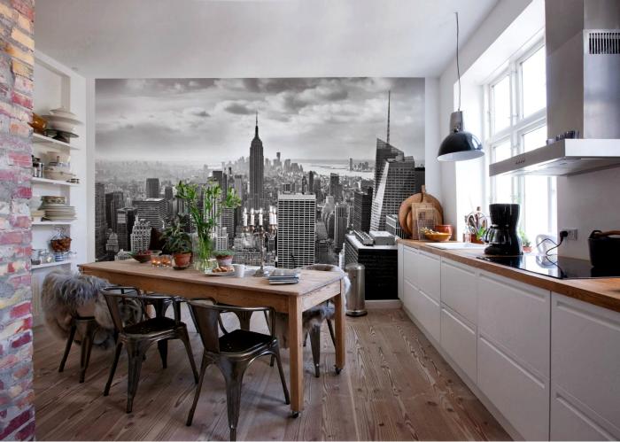 Стильная кухня с фотообоями.