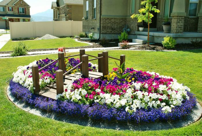 Роскошный цветочный остров в саду. | Фото: homegar.ru.