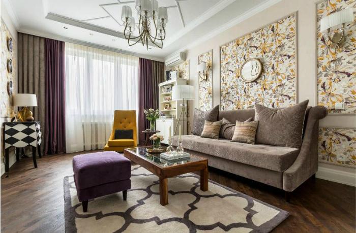 Современная гостиная в традиционном стиле.