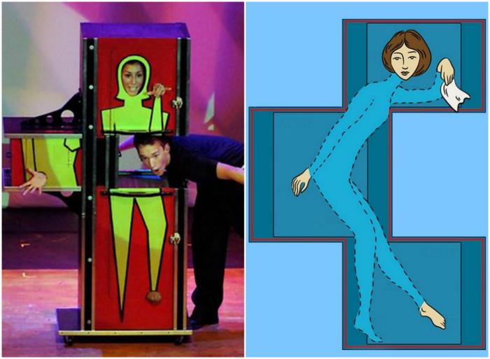 Фокус с девушкой-зигзагом в ящике.