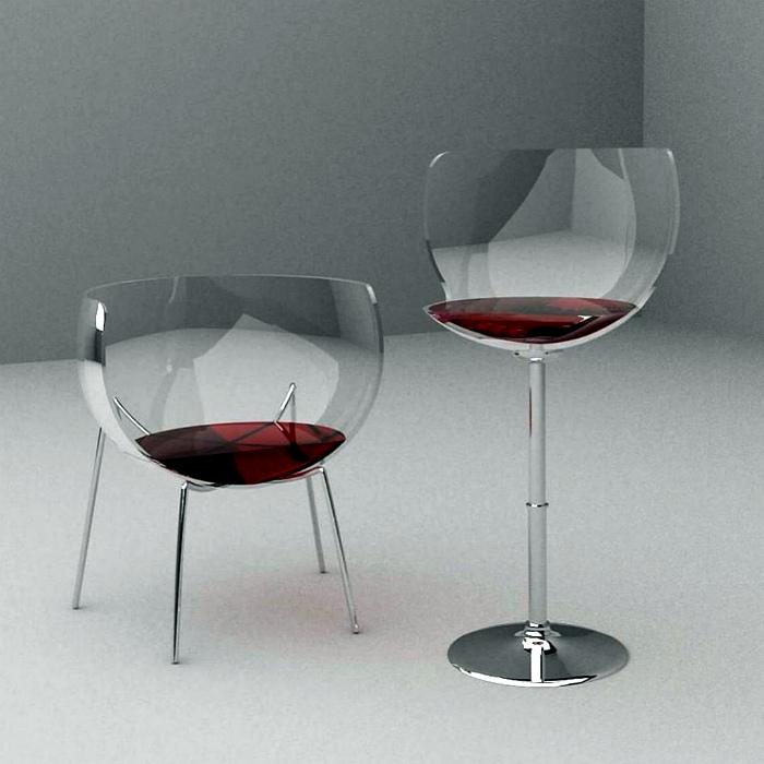 Стулья в виде бокалов вина.| Фото: feedolist.
