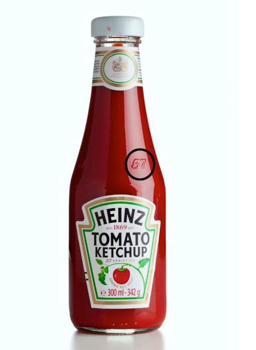 Цифра 57 на упаковке кетчупа Heinz.