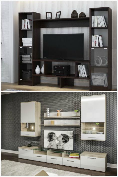 Громоздкая стенка под телевизор. | Фото: Pinterest, Chip Stock.