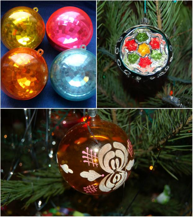 Разноцветные стеклянные шарики, заполненные дождиком или украшенные росписью.