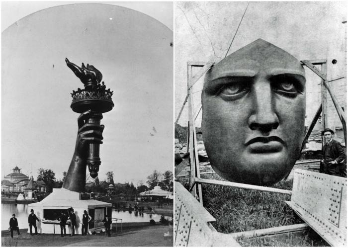 Факел и лицо статуи Свободы.