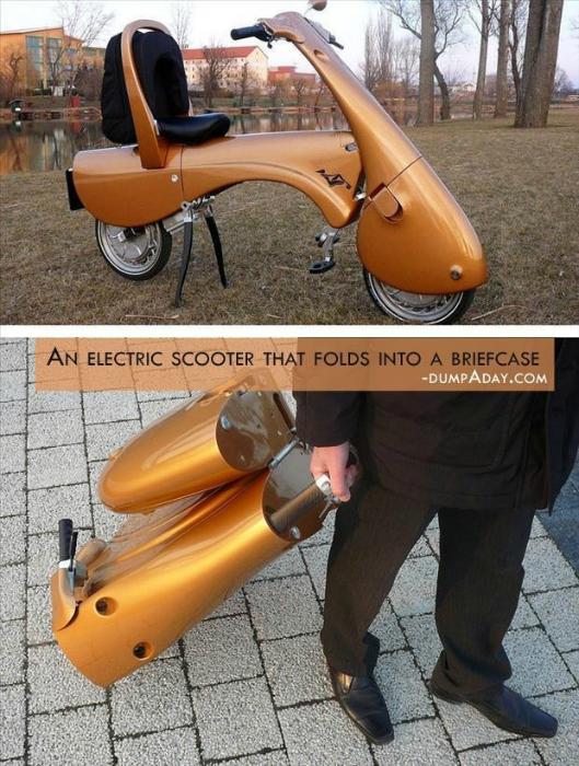 Электроскутер, который легко превращается в чемодан весом в 25 килограмм.