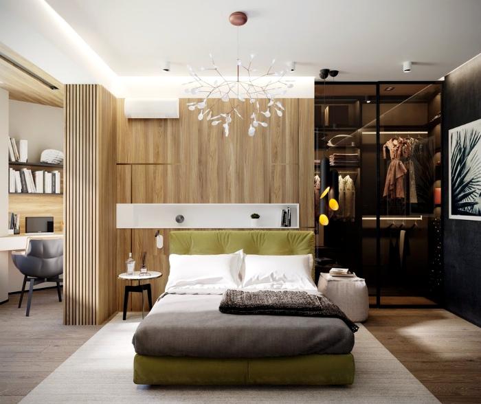 Элегантная спальня в коричневых тонах.