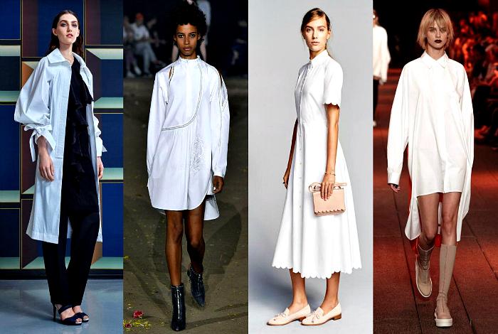Вариации белых платьев-рубашек.