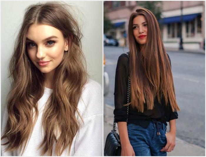 Длинные густые волосы.