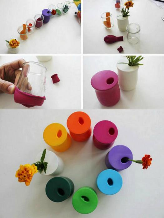 Яркие вазы из стаканов.