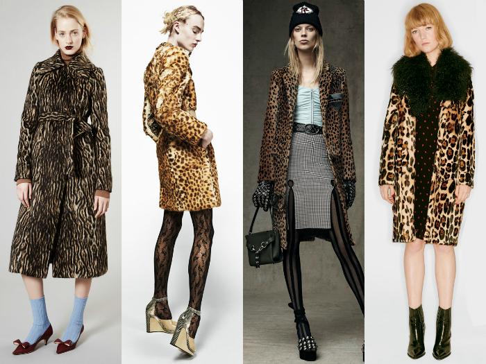 Пальто с леопардовым принтом.