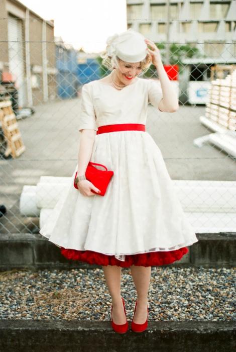 Свадебное платье в стиле ретро.