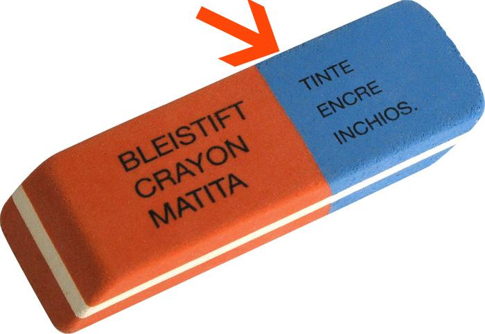 Синяя сторона ластика предназначена для чернил. | Фото: PRINTBLOG.RU.