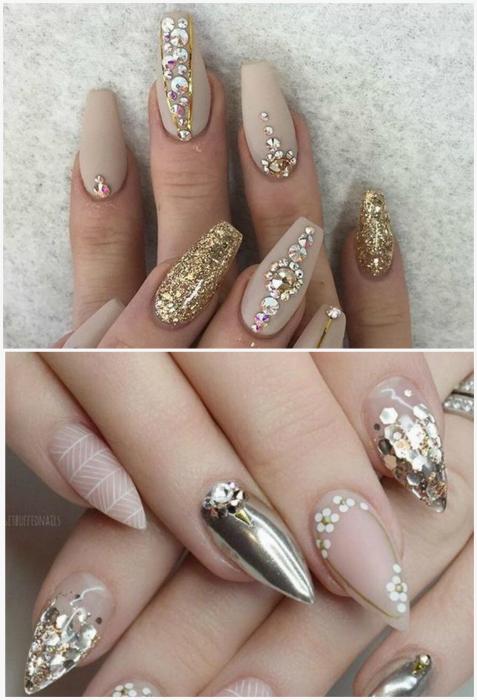 Дизайн ногтей с использованием блесток, страз и пайеток.