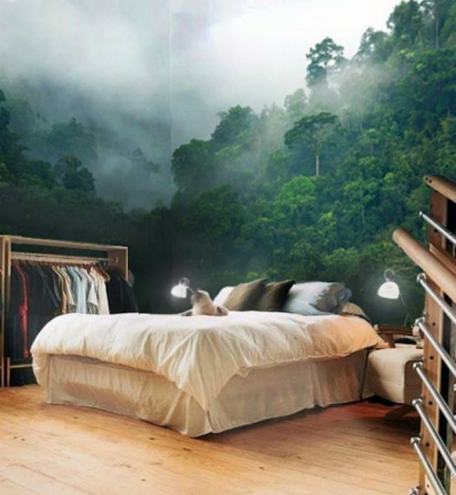 Удивительные фотообои в интерьере спальни.