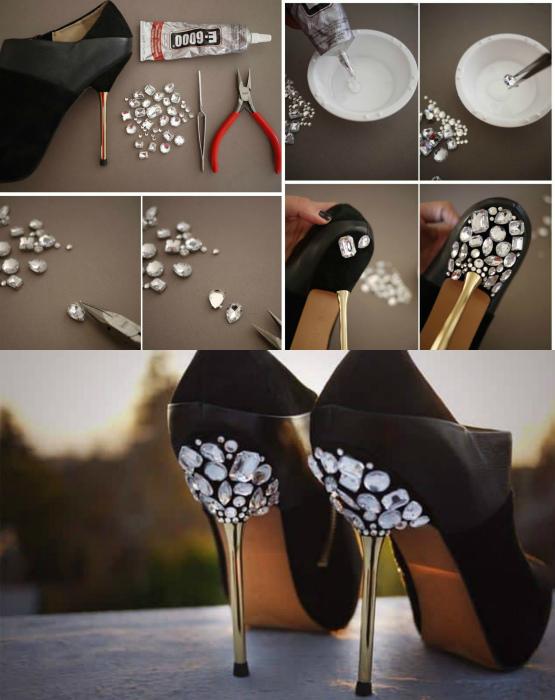 Декор туфлей крупными стразами. | Фото: Pinterest.