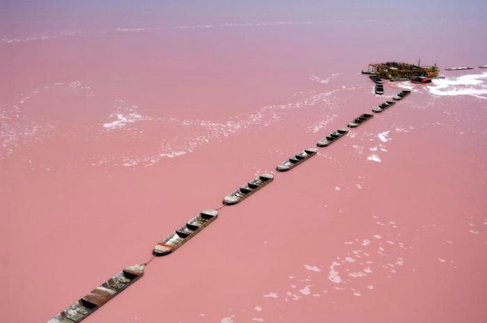 Гигантская чаша с ярко-розовой водой, площадью 3 кв. км. В озере обитают цианобактерии, которые и окрашивают в воду в такой необычный цвет.