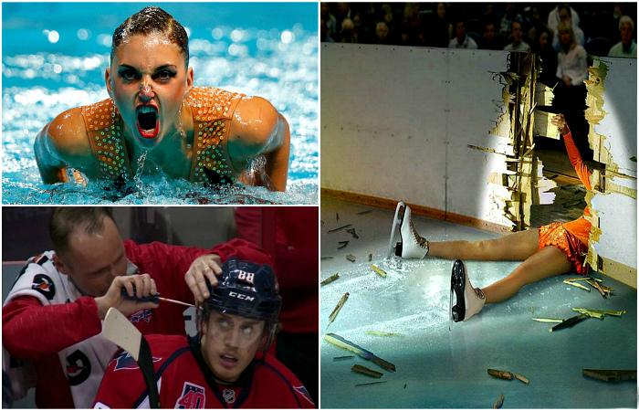 Комичные и напряженные моменты из мира спорта.