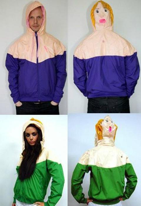 Женские и мужские куртки с забавными капюшонами.