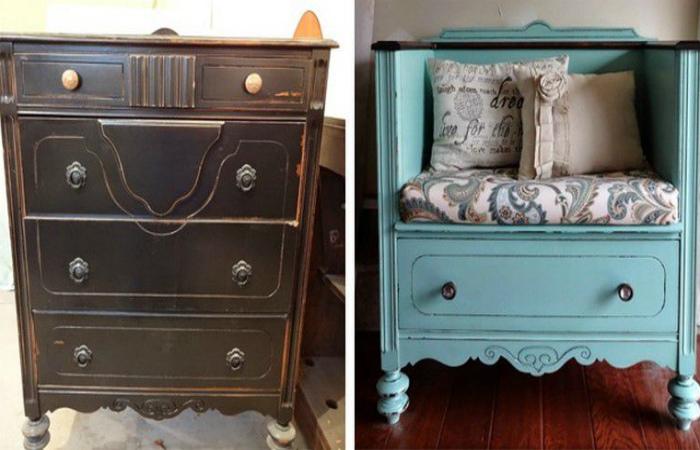 Интересные примеры, которые вдохновят взяться за переделку старой мебели.