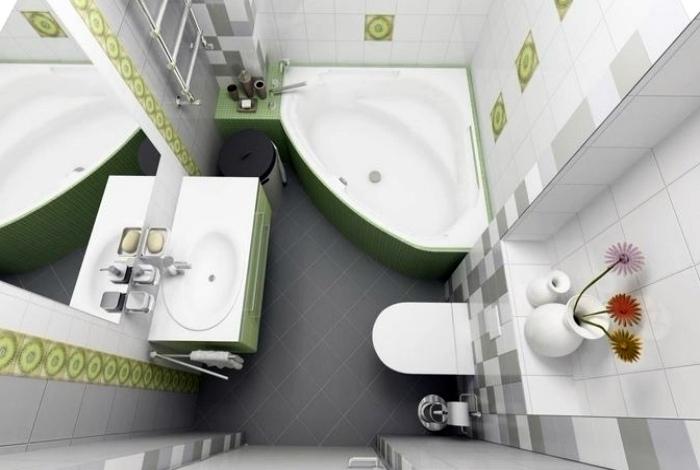 Интересный интерьер маленькой ванны. | Фото: Pinterest.