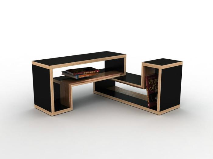 Полка для книг из двух секций, которая превращается в столик и табурет.