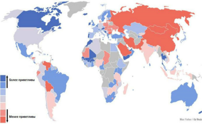 Карта, демонстрирующая отношение местного населения к иностранцам.