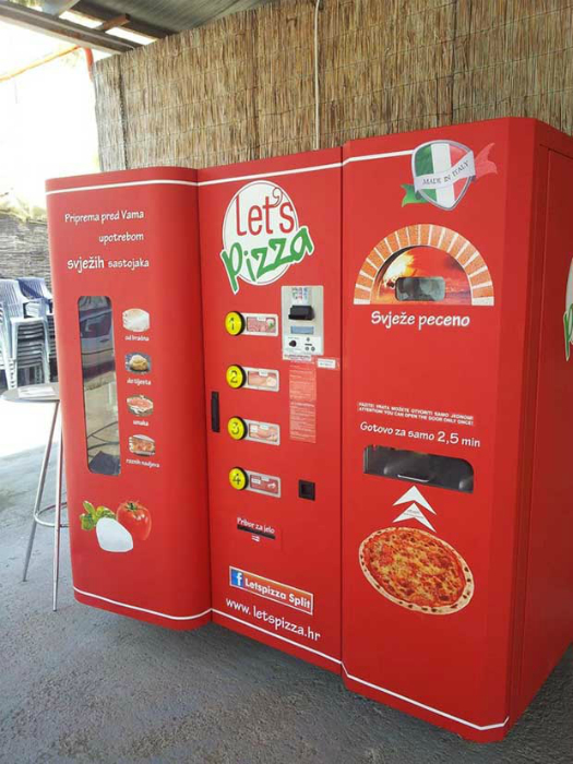 Автомат, торгующий свежей пиццей.