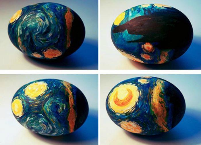 Произведение искусства на яичной скорлупе.
