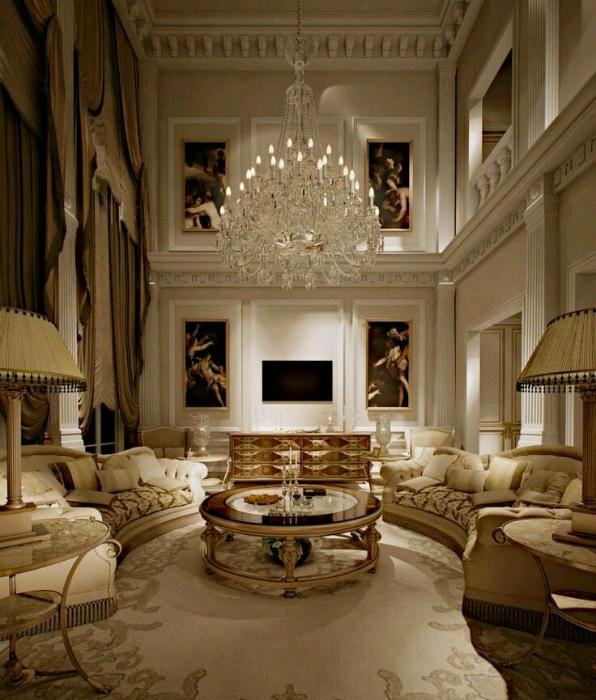 Гостиная в бело-золотых тонах.