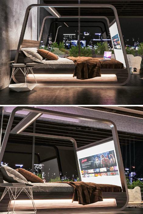 Кровать со встроенным телевизором. | Фото: fishki.net.