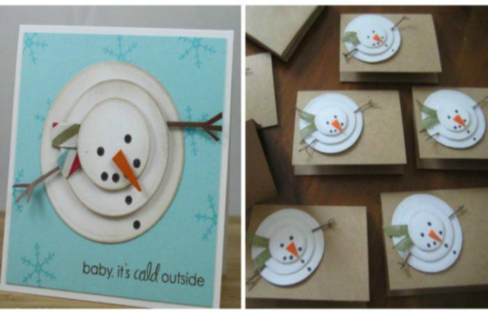Открытка с забавным снеговиком, сделанным из трех кругов белого картона. Чтобы добавить снеговику объема, каждый круг следует клеить на двухсторонний скотч.