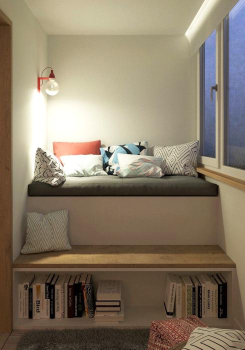 Читальный уголок на балконе. | Фото: Satukubik.com.