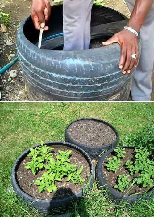 Приподнятые грядки из шин. | Фото: ProLandscape - Landscaping Ideas.