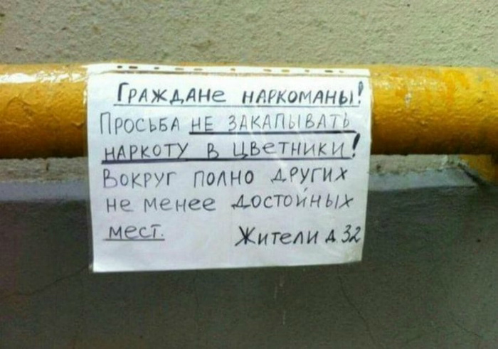 Вашим наркотикам не место в нашем саду. | Фото: Приколы - bigmir)net.