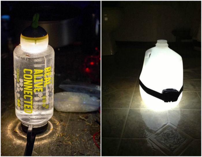 Освещение в палатке. | Фото:  Instructables, Pinterest.