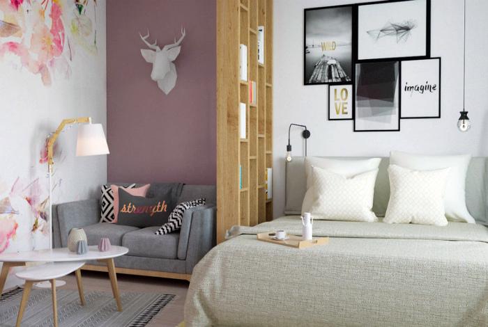 Светлая зона гостиной в однокомнатной квартире.