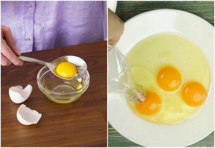 Как отделить желток от белка.