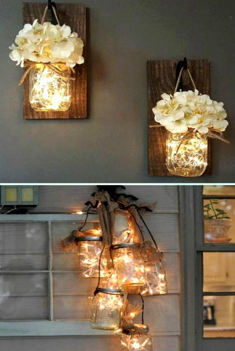 Светящиеся баночки с цветами.