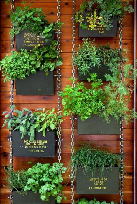 Вертикальный сад в декоративных горшках. | Фото: Pinterest.