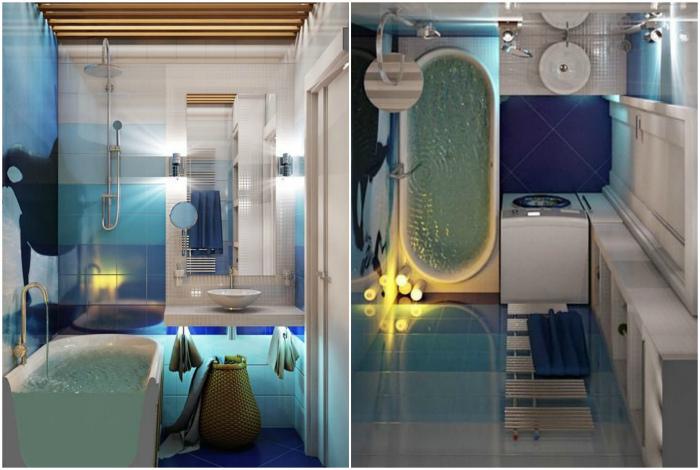 Ванная комната в морском стиле.