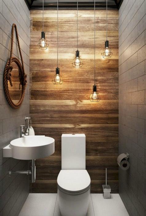 Стильный туалет в стиле лофт.