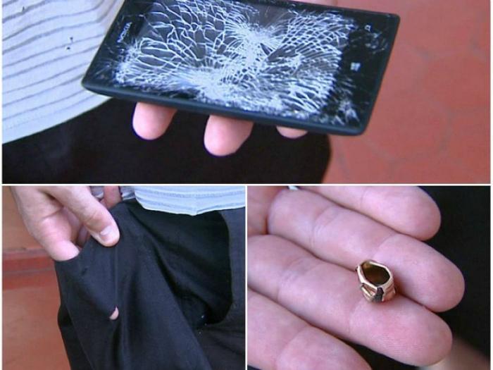 Смартфон спас от пули.